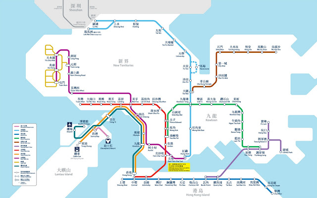 Map of the Hong Kong metro system.