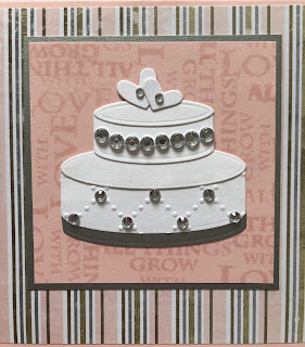 Hand made wedding cake embellishment with adhesive crystals