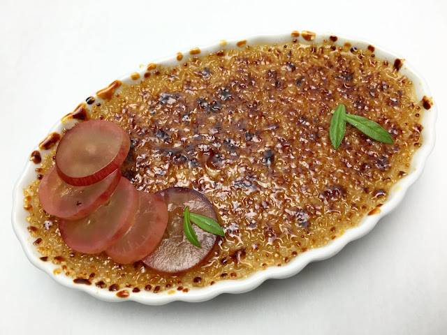 Toasted Hazelnut Crème Brûlée with Pickled Grape Slices
