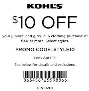 Kohls coupon $10 Off $40 Juniors' & Girls' Apparel