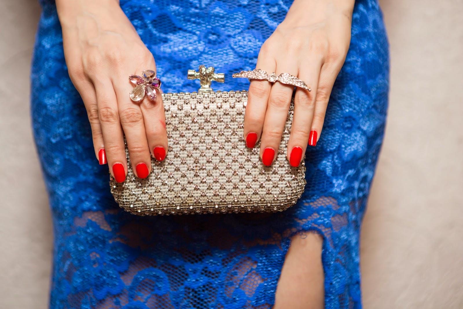 Crystal studded box clutch, Swarovski flower ring , angel wings ring