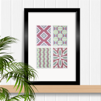 Set of four ACEO size modern geometric paper stitching patterns in red and green.
