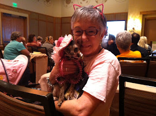Coco, the Cornish Rex, and Teri at BlogPaws, Photo by Christine Roe, Bailey's Doggy Directory