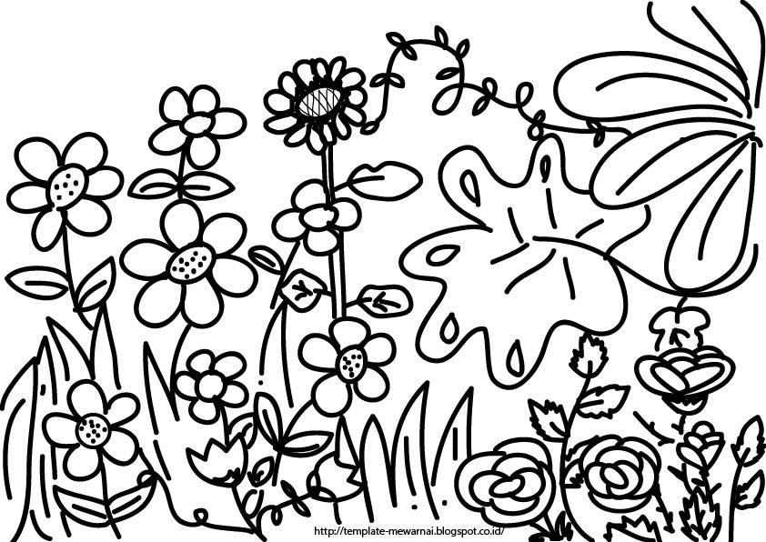 Gambar Mewarnai Rumput Dan Bunga Akana Gambar