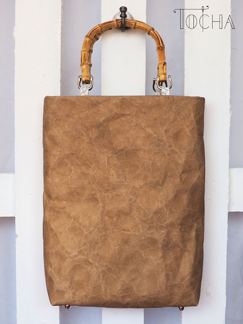 Handbag, Top Handle Bag, white, rectangle, brown, ecru, beige, paper people, paper cut out, top handle,  bag, trees, made in EU, washpapa, washable paper, bamboo, ethical fashion, hand crafted, bagmaking,