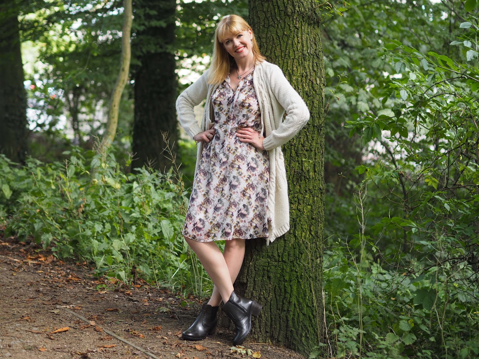 Floral dress and olive green brogue Chelsea Boots