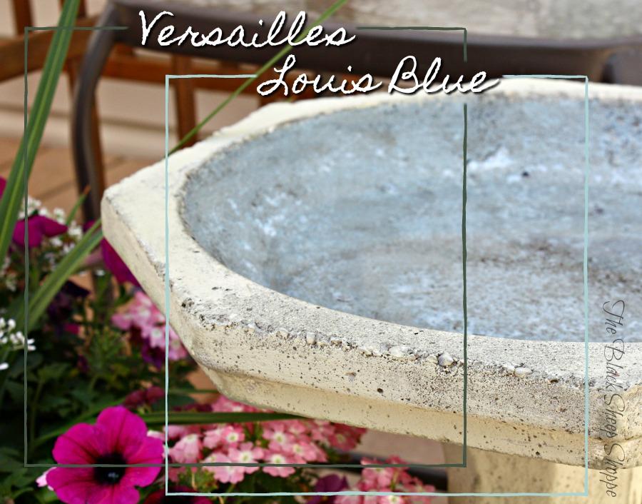 Versailles and Louis Blue chalk paint used on concrete bird bath.