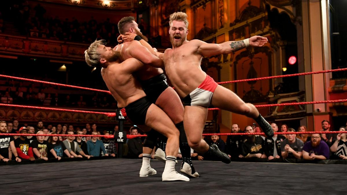 3e8778b62f8d ... Moustache Mountain s Tyler Bate and Trent Seven versus Gallus  Mark  Coffey and Wolfgang was the main event of the first episode