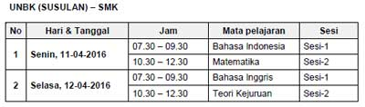 Jadwal UNBK Susulan SMK  tahun 2016