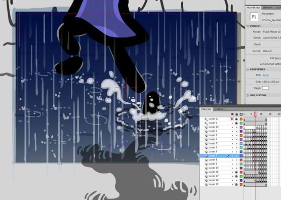 Running through the rain.