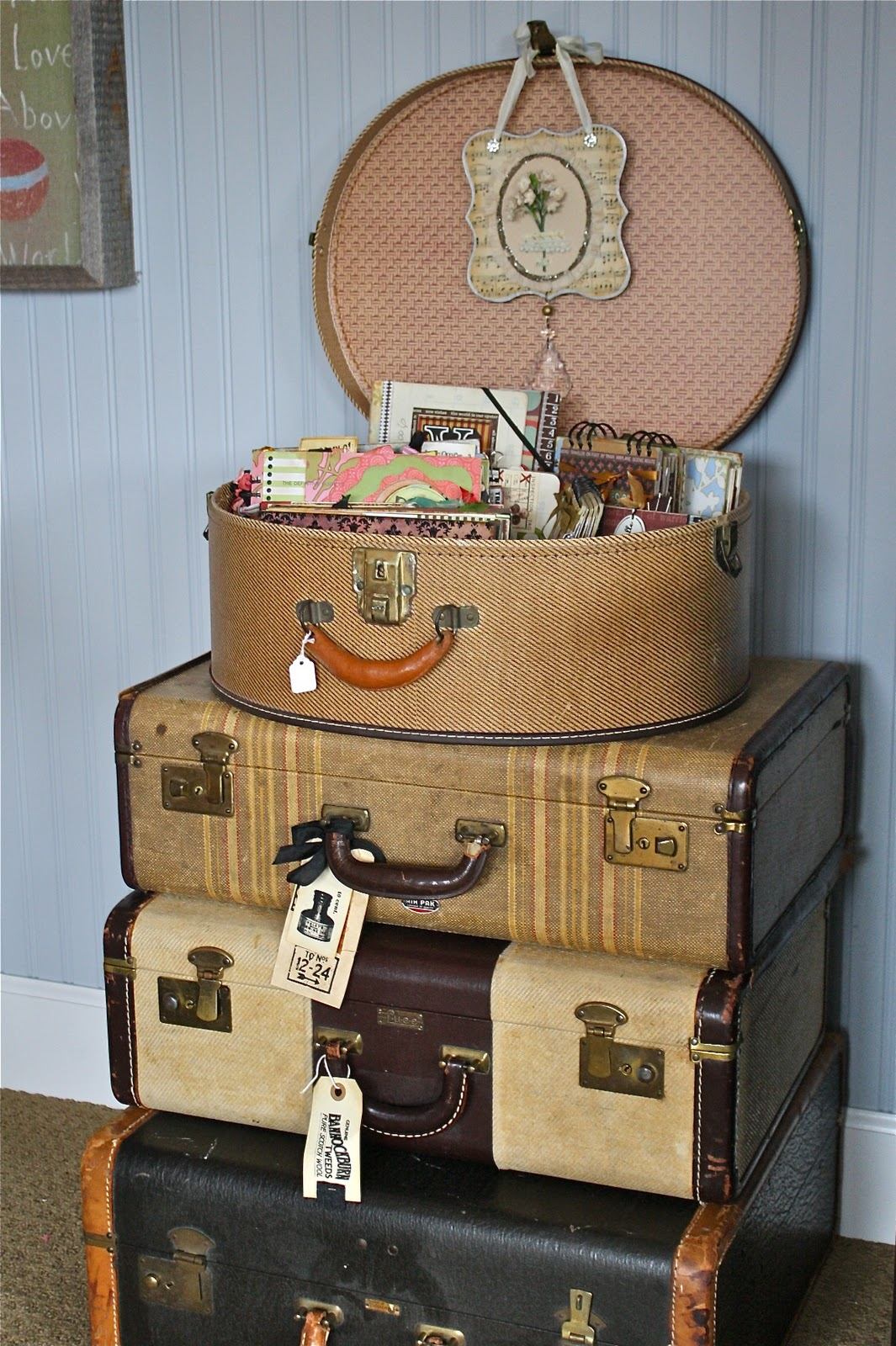Vintage Decorative Suitcases One Lucky Day No 2 Good Junk