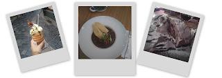 Polaroids de spécialités culinaires tchèques : Trdelnik, Goulash et Strudel.