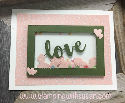 Stampin' Up!, Rectangle Framelits, Shaker Card, www.stampingwithsusan.com, Meant to Be