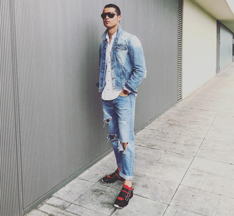 Is he the most handsome sportsman alive? Cristiano Ronaldo steps out in ripped denim