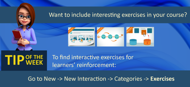 A graphic explaining how to find interaction models in Raptivity from the exercises category