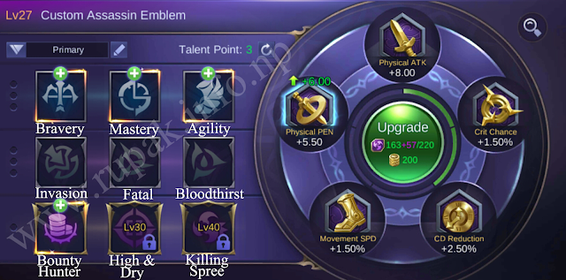 Mobile Legends Custom Assassin Emblem Details