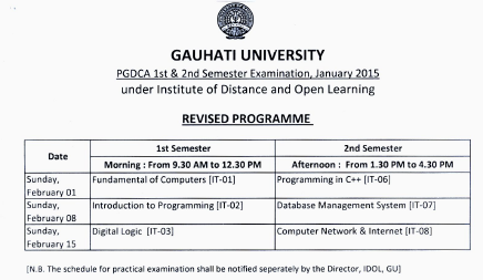 IDOL Guwahati University PGDCA 1st & 3rd Sem Examination Schedule