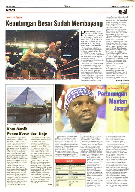 LEWIS VS TYSON 2002 BOXING NEWS