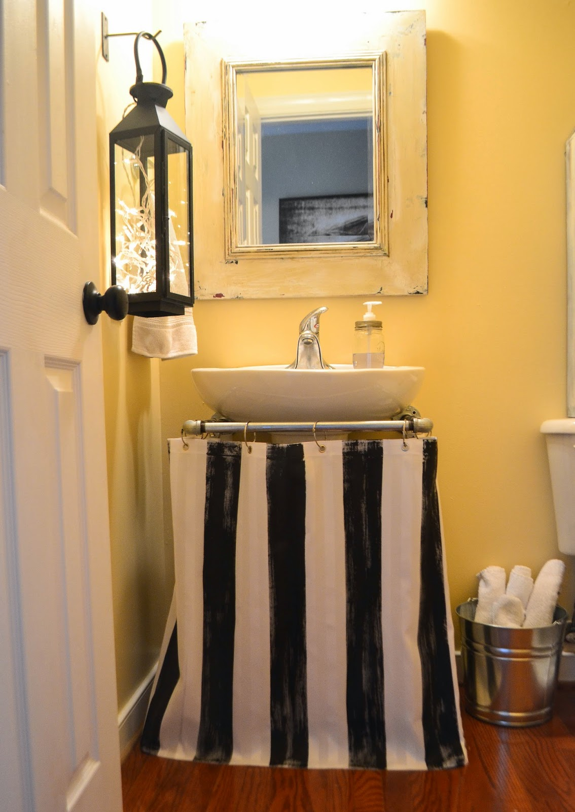 Down To Earth Style Painted Pedestal Sink Skirt Shower