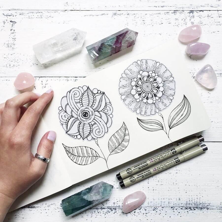 05-Ksenya-Gromova-Ink-Mandala-and-Flower-Drawings-www-designstack-co