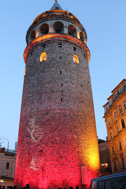 Galata Tower near Bosphorus Strait and Istiklal Street in Istanbul, Turkey