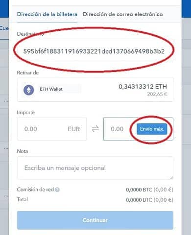 Dirección envio de ethereum para comprar iot chain ICT