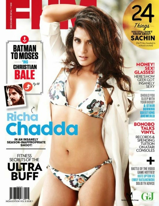 Hot Richa Chadda Features on The Cover of FHM Magazine India December 2014