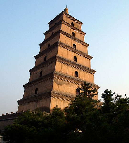 The Giant Wild Goose Pagoda at Xi'an, China built in 652 AD during the Tang dynasty.