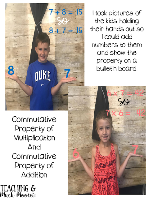 commutative property of addition, commutative property of multiplication bulletin board idea with pictures of your students.