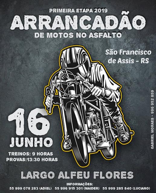Participe da primeira etapa 2019 arrancadão de motos no asfalto em