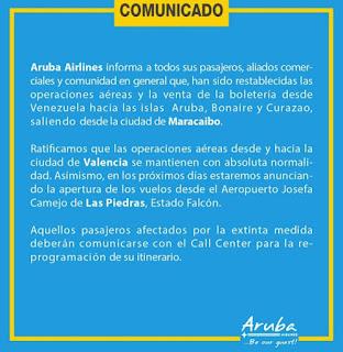 Se reanudan los vuelos a Aruba, Curazao y Bonaire. Aruba Airlines reanuda los vuelos desde Maracaibo hacia Curazao, Bonaire y Aruba. Comunicado de Aruba Airlines