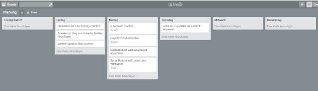 Trello-Board meiner Wochenplanung zur persönlichen Arbeitsorganisiation