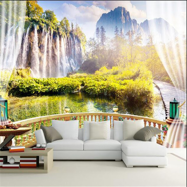3d wall Murals wallpaper Sunset Waterfall Window Landscape wall Room Wallpaper Wall Mural Bedroom Livingroom Balcony