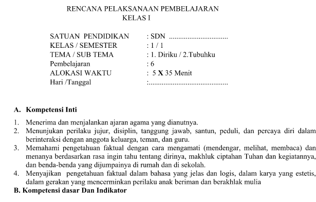RPP Kurikulum 2013 Tema 1 Subtema 2 Pembelajaran 6 Revisi Terbaru kelas 1 SD