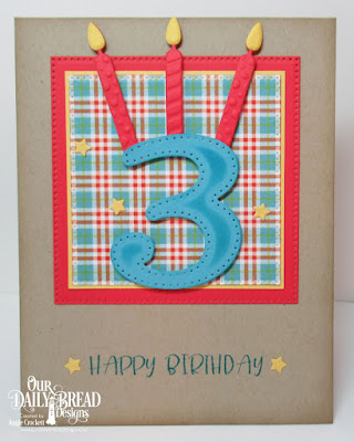 Our Daily Bread Designs Stamp Set: Today and Everyday, Custom Dies: Birthday Candles, Large Numbers, Sparkling Stars, Pierced Squares, Paper Collection: Birthday Brights