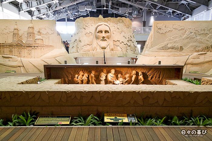 sculpture de sable christ rédempteur corcovado triptyque