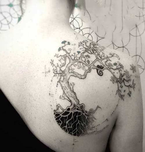 yuvarlak ağaç dövmesi round tree tattoo