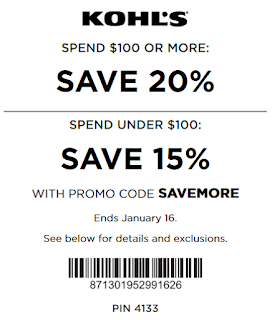 Kohls coupon 20% Off $100+ purchase