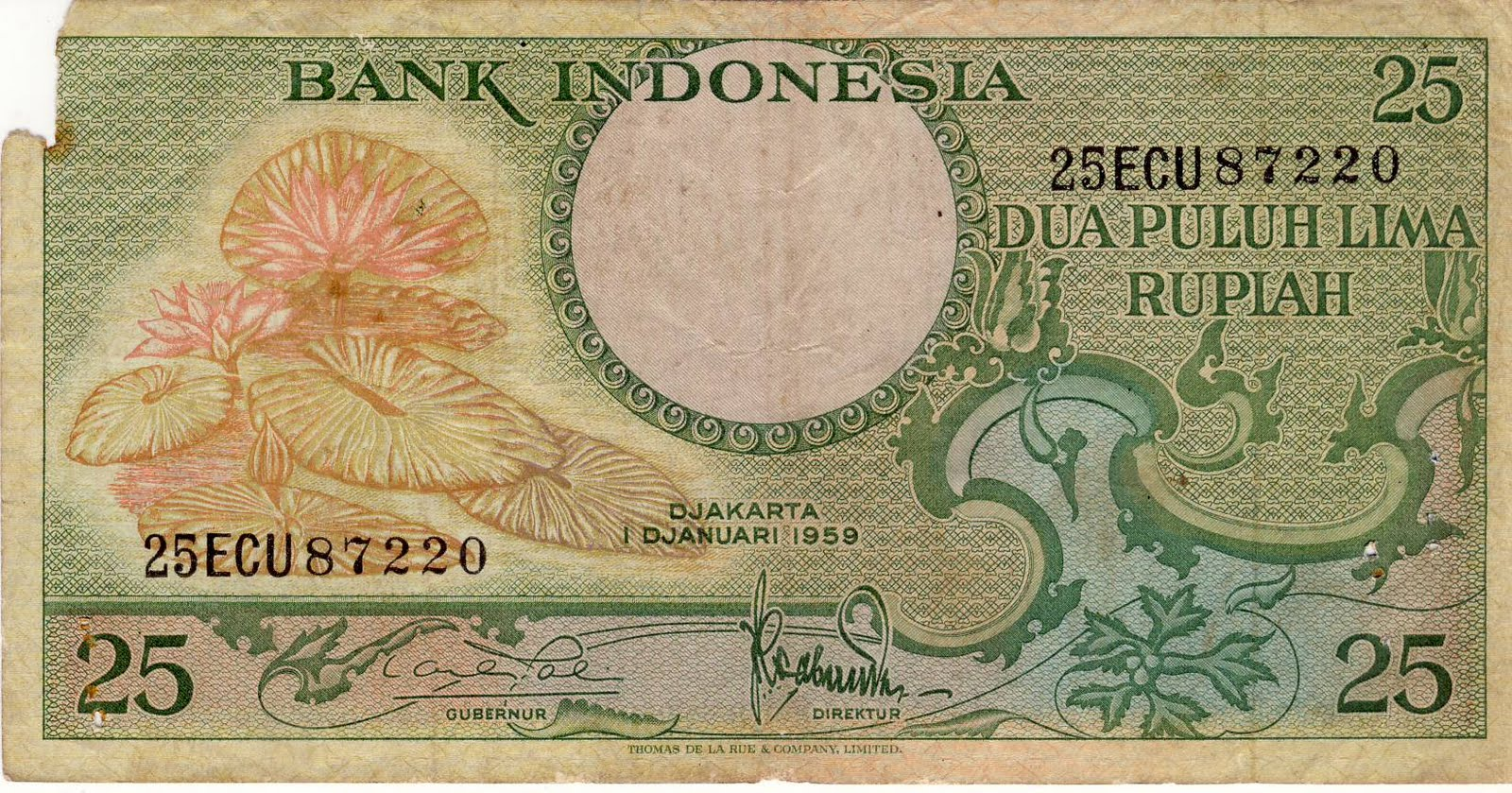 Uang Kuno Indonesia Pecahan Rp  Dua Puluh Lima Rupiah Keluaran  Cetakan Thomas De La Rue Company Limited
