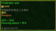 naruto castle defense 6.0 Item Vindicator axe detail