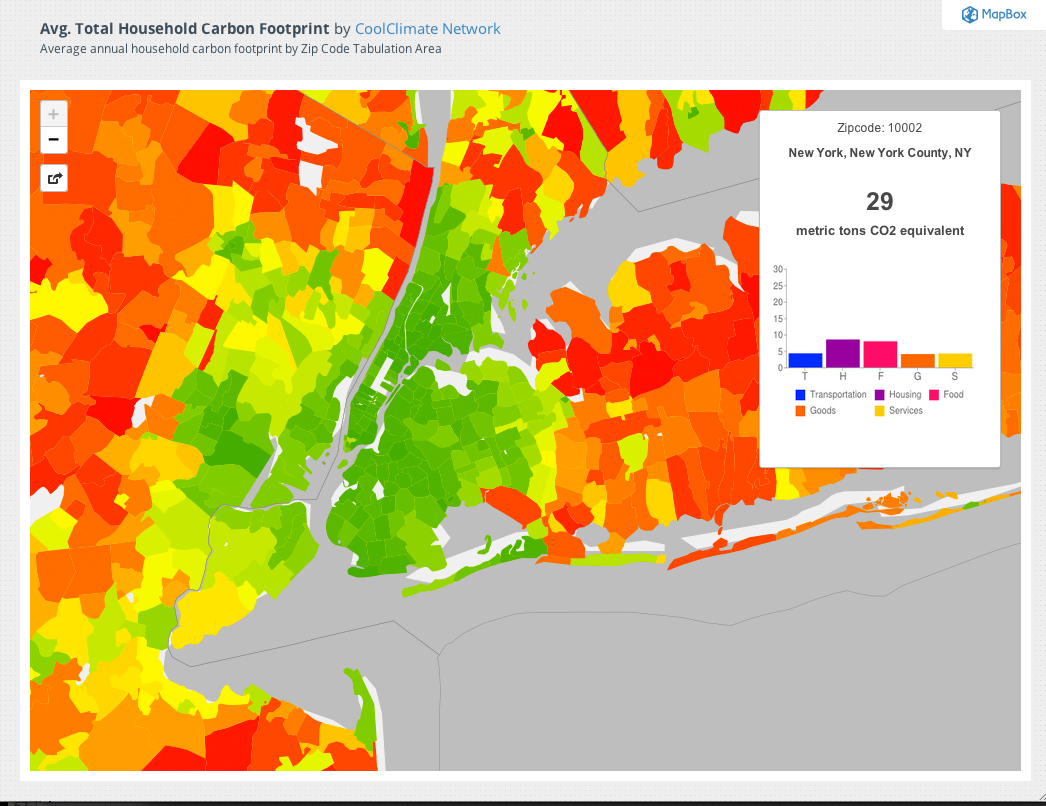 nyc 29 metric tons co2 per person but look at the red suburbs ny city suburbs can t have one without the other