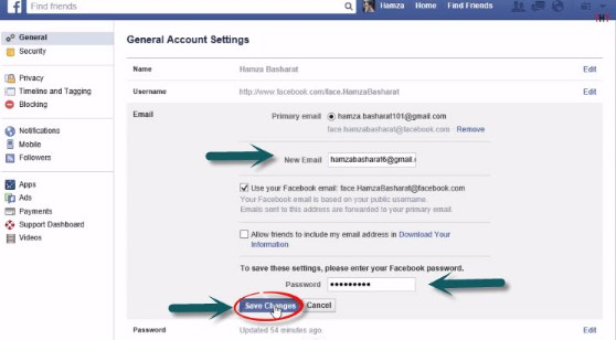 how to change email on facebook without logging in