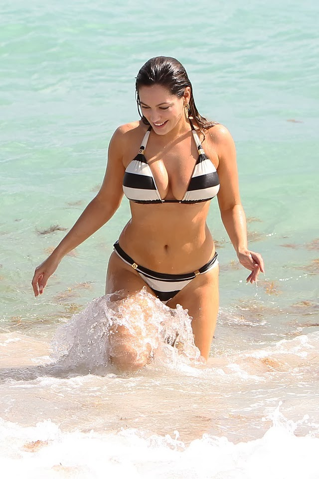 Kelly Brook seen in a black and white striped bikini with boyfriend in Miami