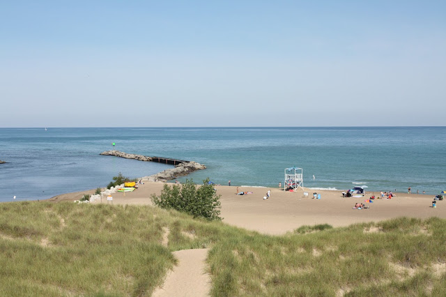 View of New Buffalo beach in Michigan from atop the dunes.