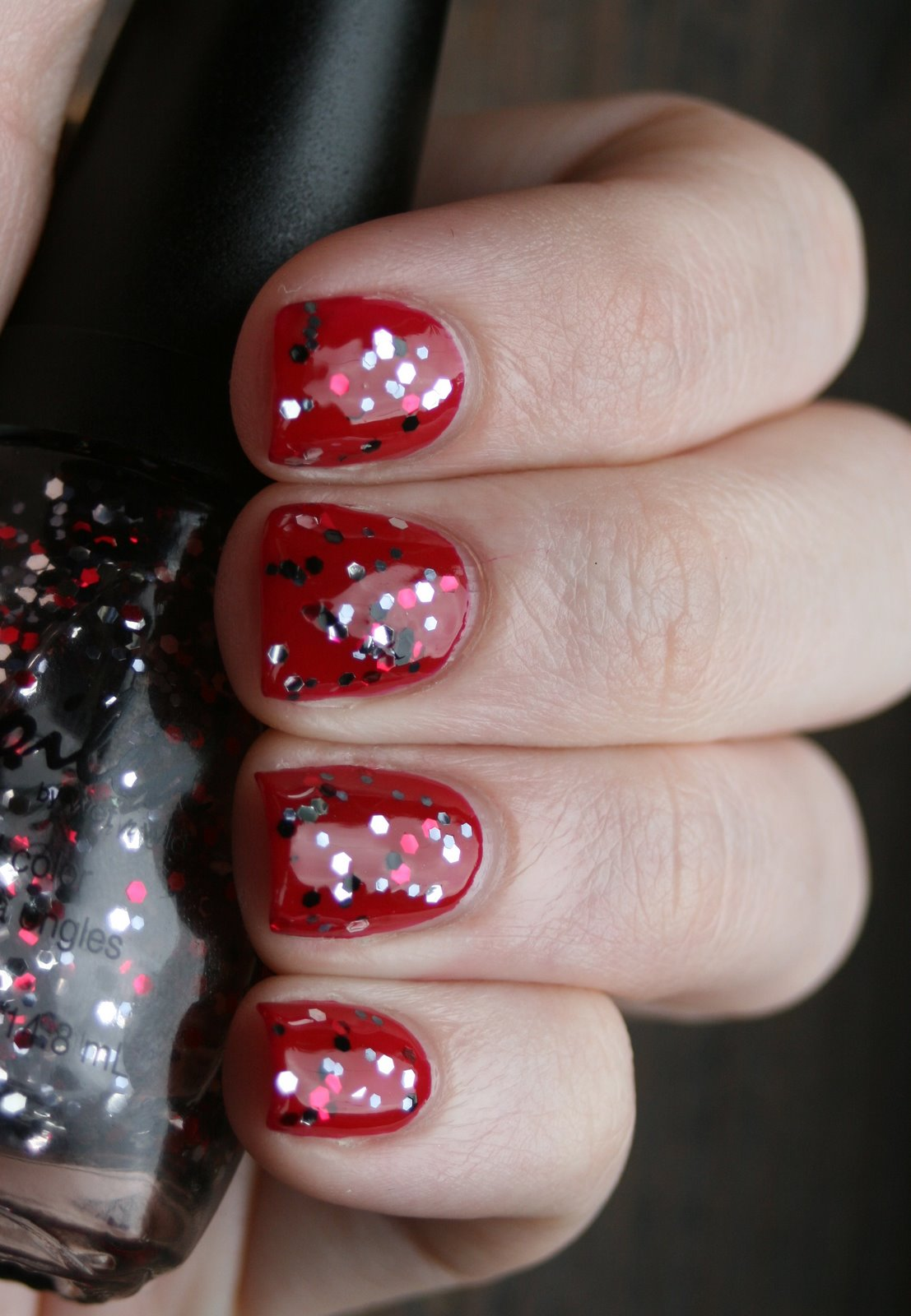 China Glaze Red Satin and Spoiled by Wet n Wild Shuffle the Deck Swatch