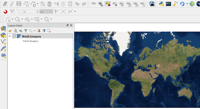 World Satellite Imagery in QGIS Map Canvas