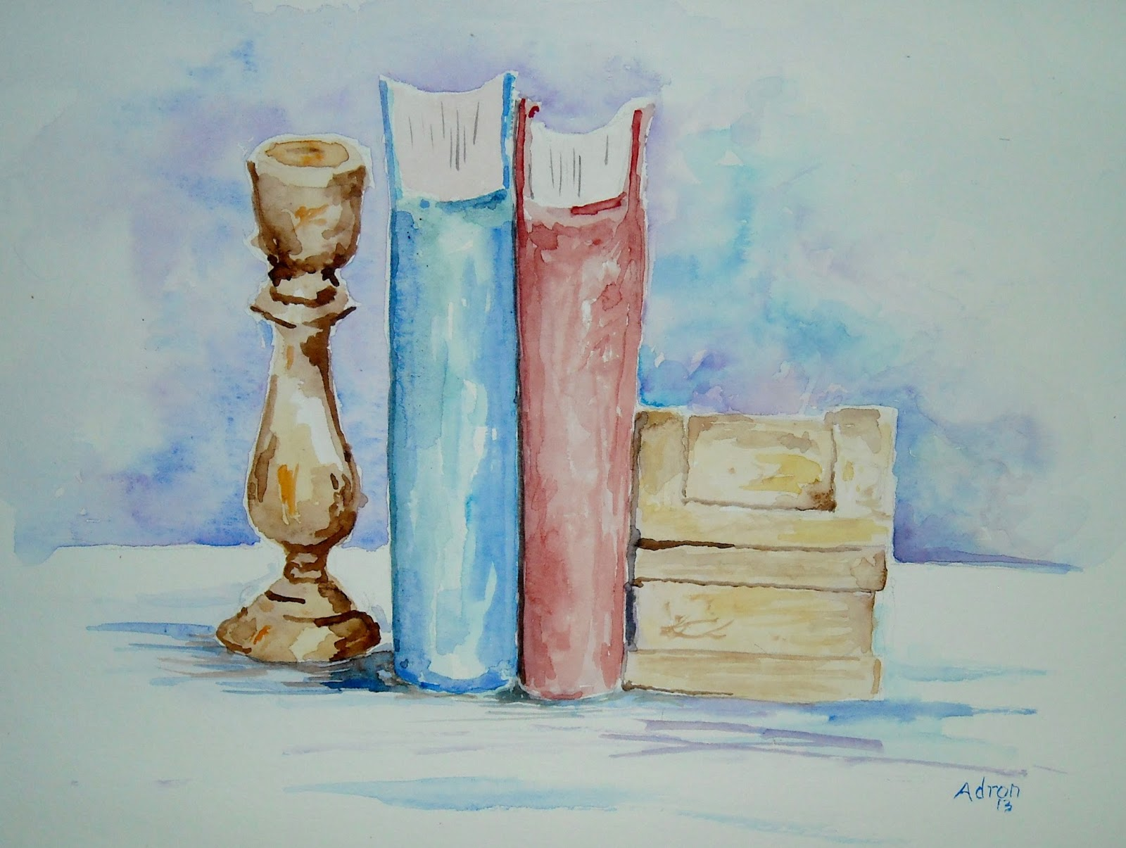 Artist Adron Simple Watercolor Still Life With Four Objects