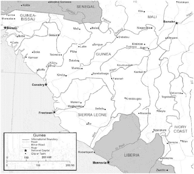 image: Black and white Guinea Map