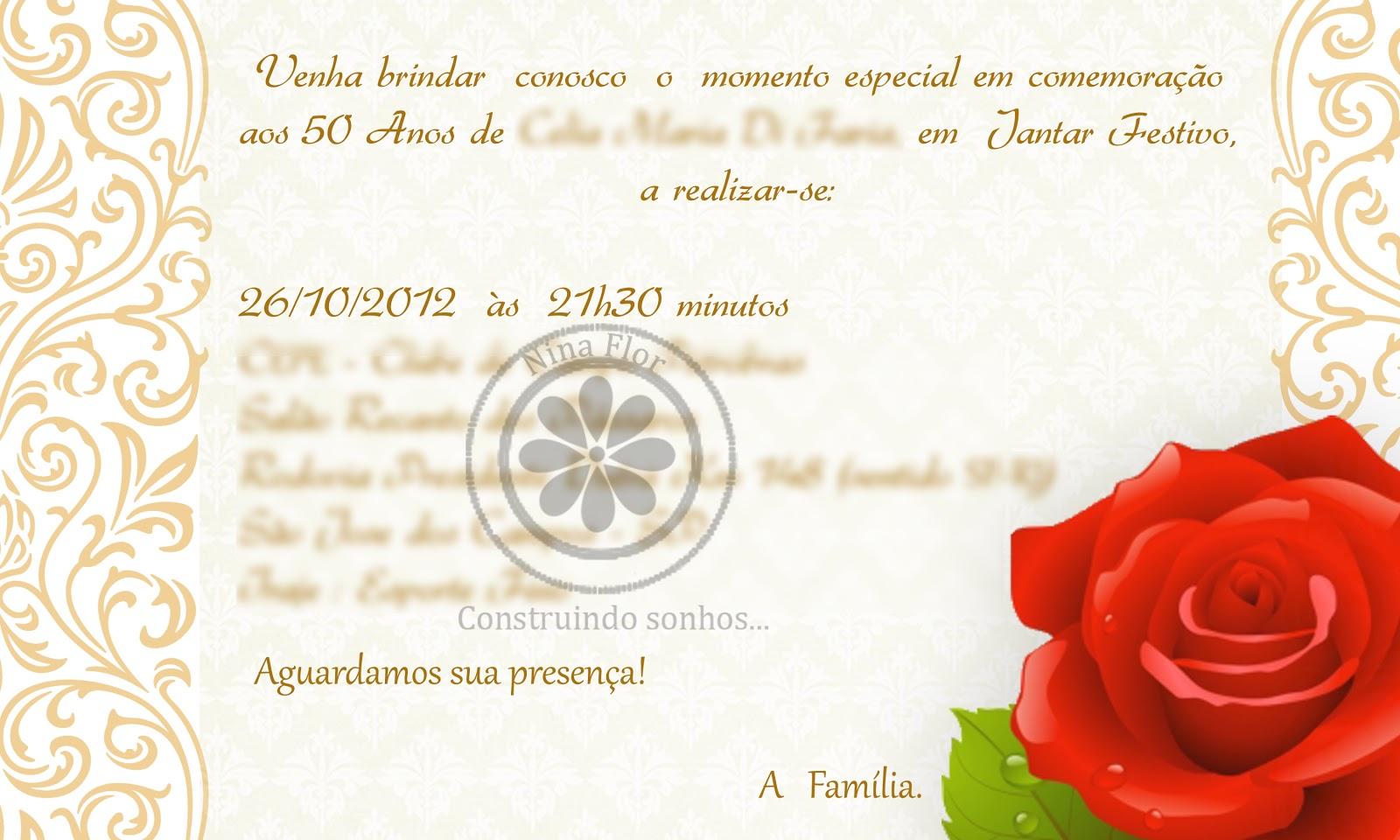 Quero Montar Meu Convite De 50 Anos: Nina Flor: Convite