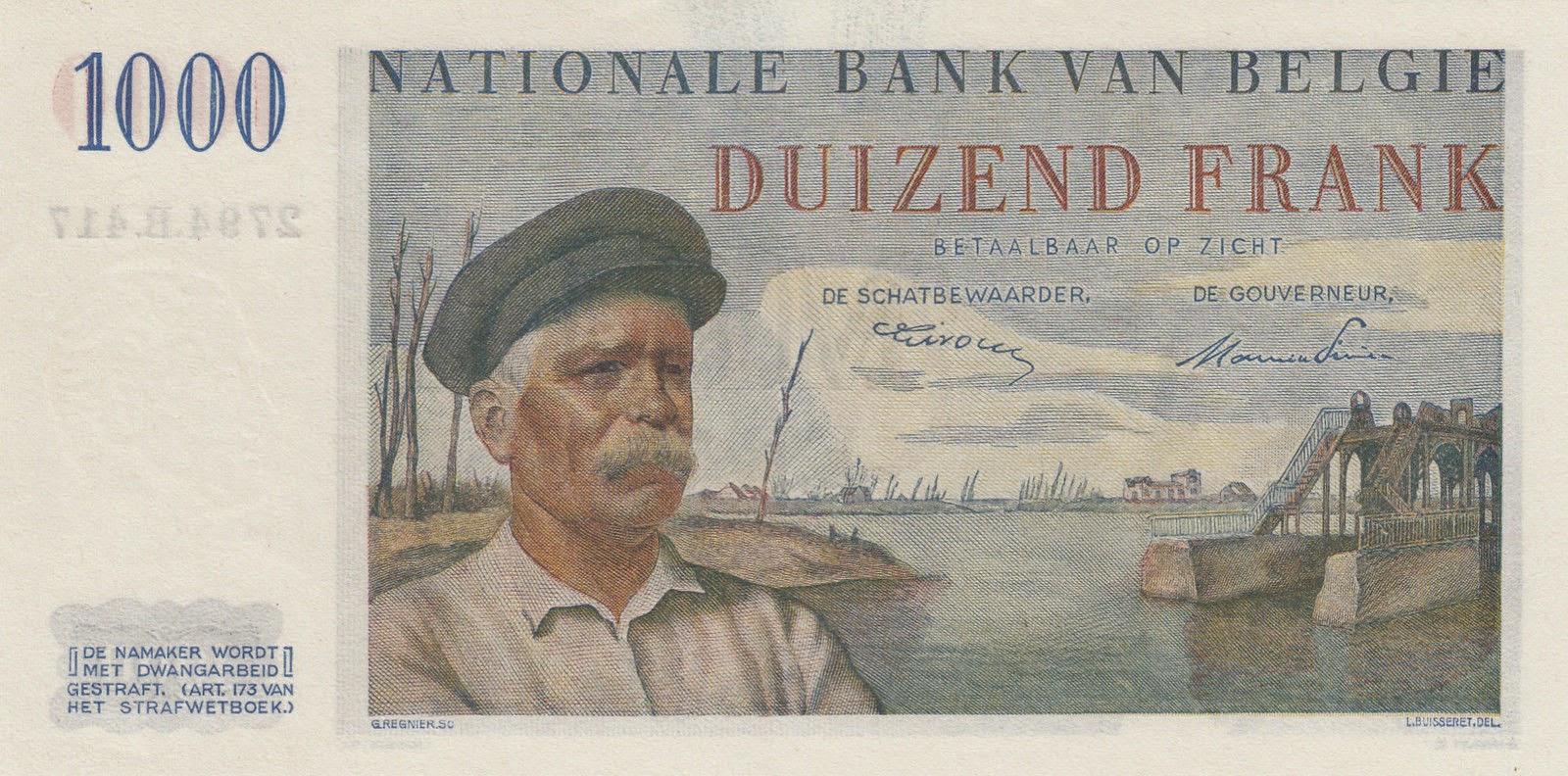Belgian Banknotes 1000 Francs bank note 1950 Lockmaster Hendrik Geeraert, Nieuwpoort